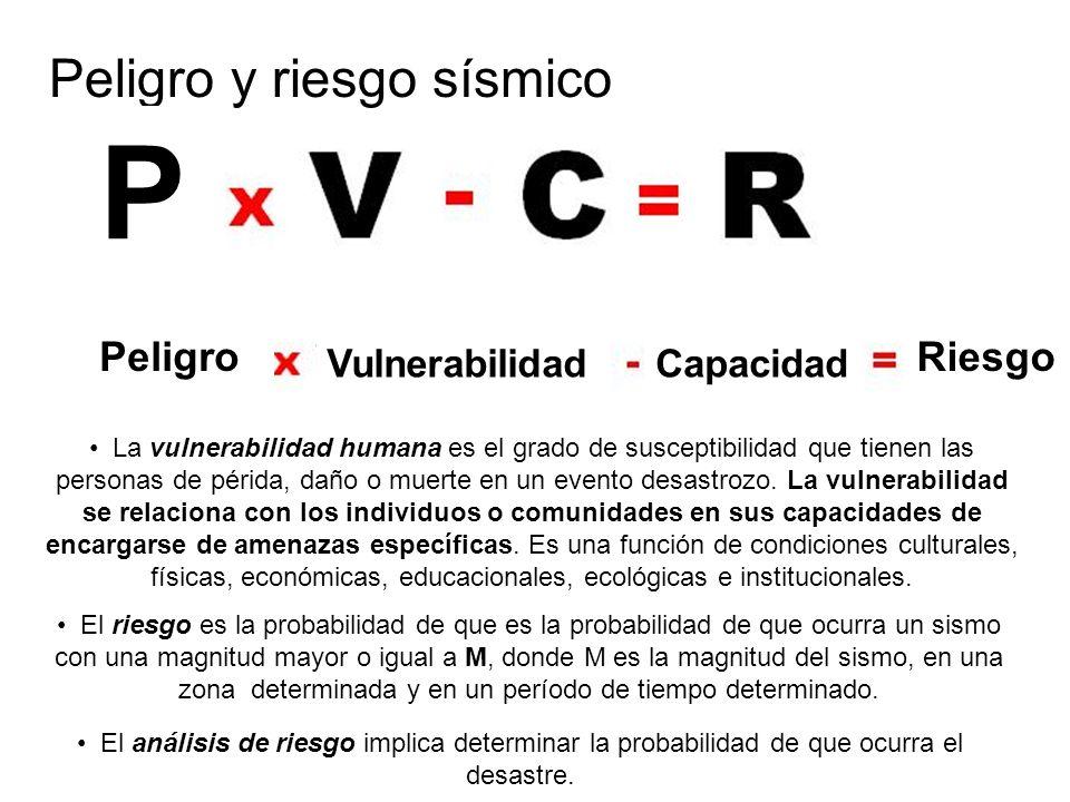 Peligro y riesgo sísmico P Peligro VulnerabilidadCapacidad Riesgo El riesgo es la probabilidad de que es la probabilidad de que ocurra un sismo con un