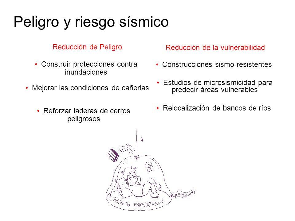 Peligro y riesgo sísmico Reducción de Peligro Reducción de la vulnerabilidad Mejorar las condiciones de cañerias Reforzar laderas de cerros peligrosos