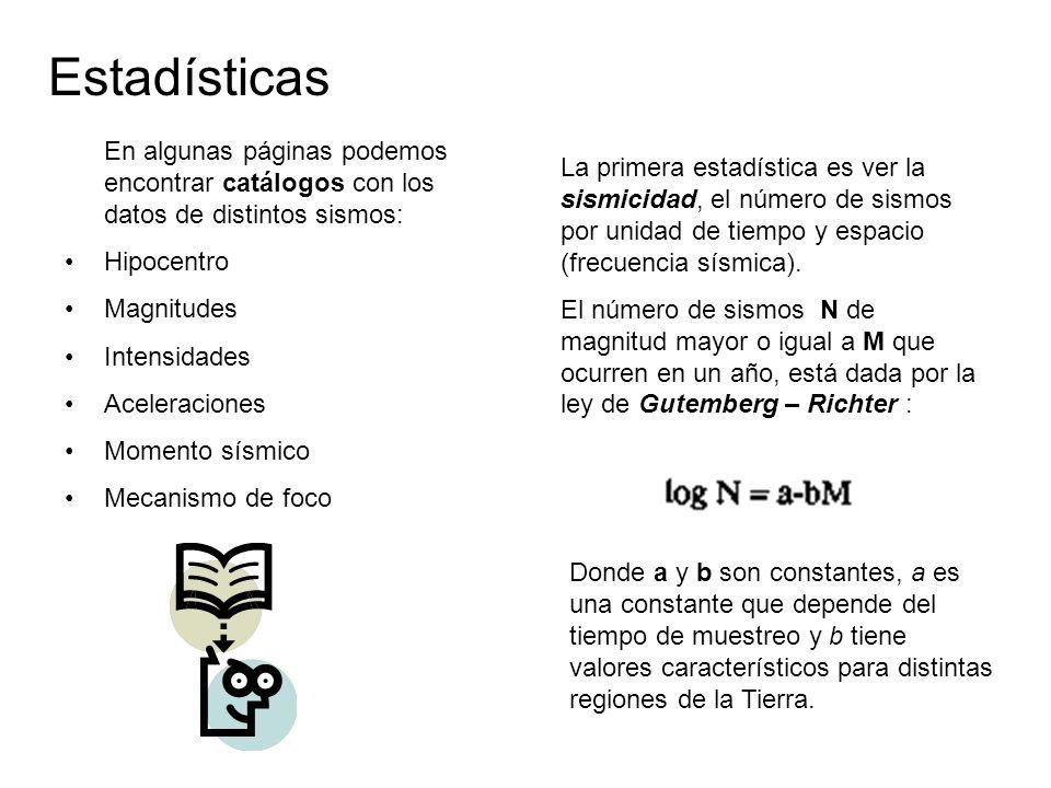 Estadísticas En algunas páginas podemos encontrar catálogos con los datos de distintos sismos: Hipocentro Magnitudes Intensidades Aceleraciones Momento sísmico Mecanismo de foco La primera estadística es ver la sismicidad, el número de sismos por unidad de tiempo y espacio (frecuencia sísmica).