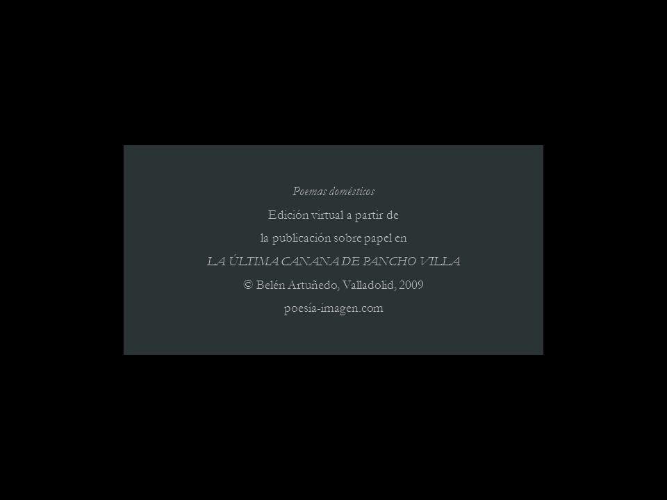 Poemas domésticos Edición virtual a partir de la publicación sobre papel en LA ÚLTIMA CANANA DE PANCHO VILLA © Belén Artuñedo, Valladolid, 2009 poesía