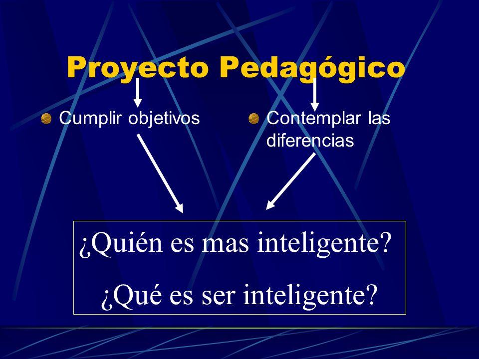 Proyecto Pedagógico Cumplir objetivosContemplar las diferencias ¿Quién es mas inteligente? ¿Qué es ser inteligente?