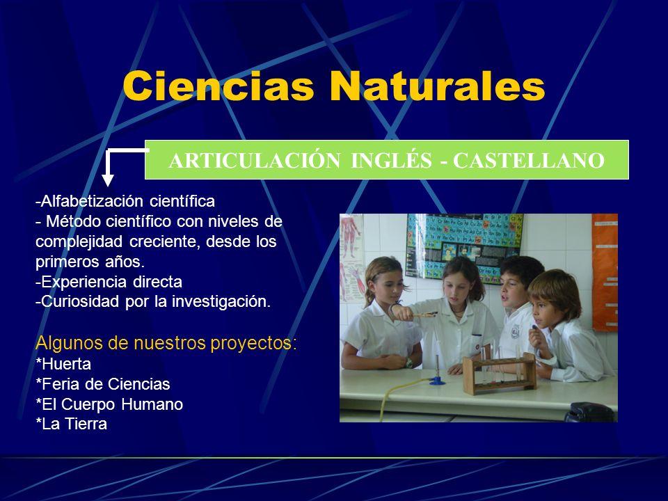 Ciencias Naturales ARTICULACIÓN INGLÉS - CASTELLANO -Alfabetización científica - Método científico con niveles de complejidad creciente, desde los pri