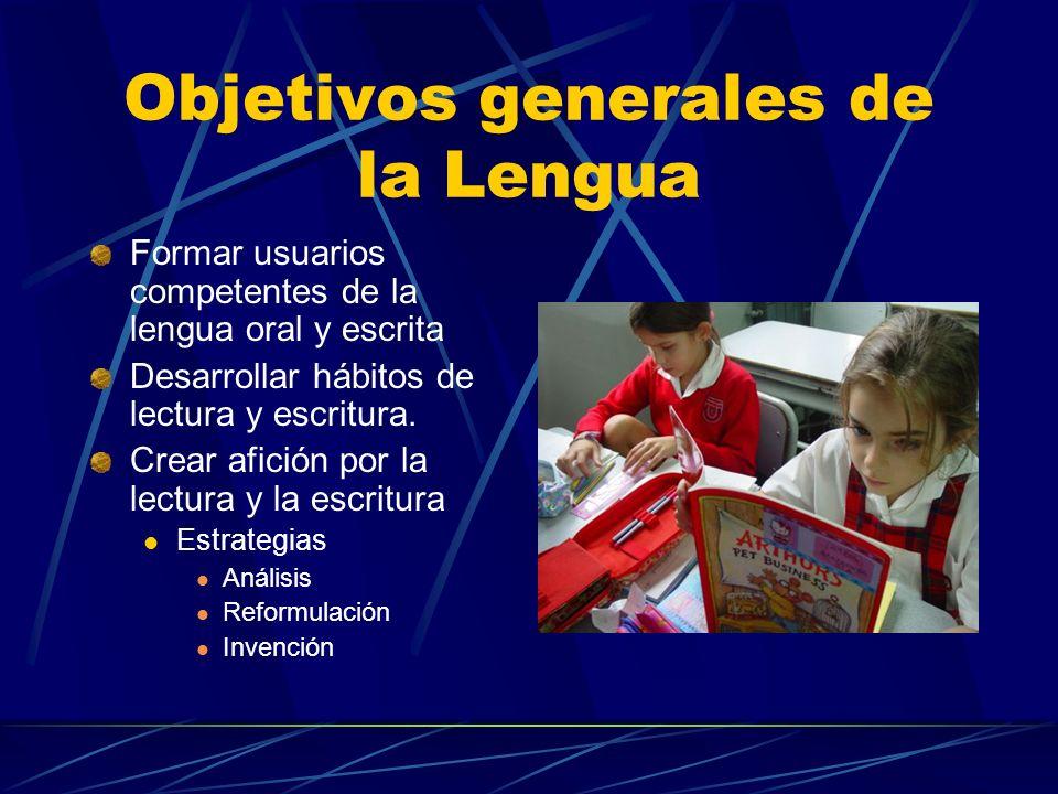 Objetivos generales de la Lengua Formar usuarios competentes de la lengua oral y escrita Desarrollar hábitos de lectura y escritura. Crear afición por