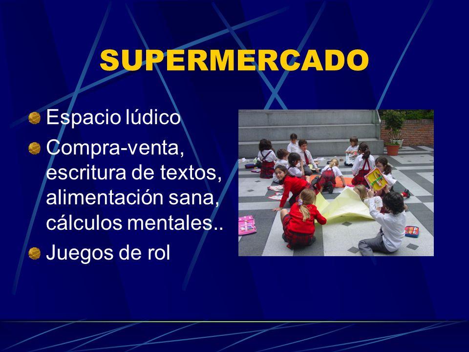 Espacio lúdico Compra-venta, escritura de textos, alimentación sana, cálculos mentales.. Juegos de rol SUPERMERCADO