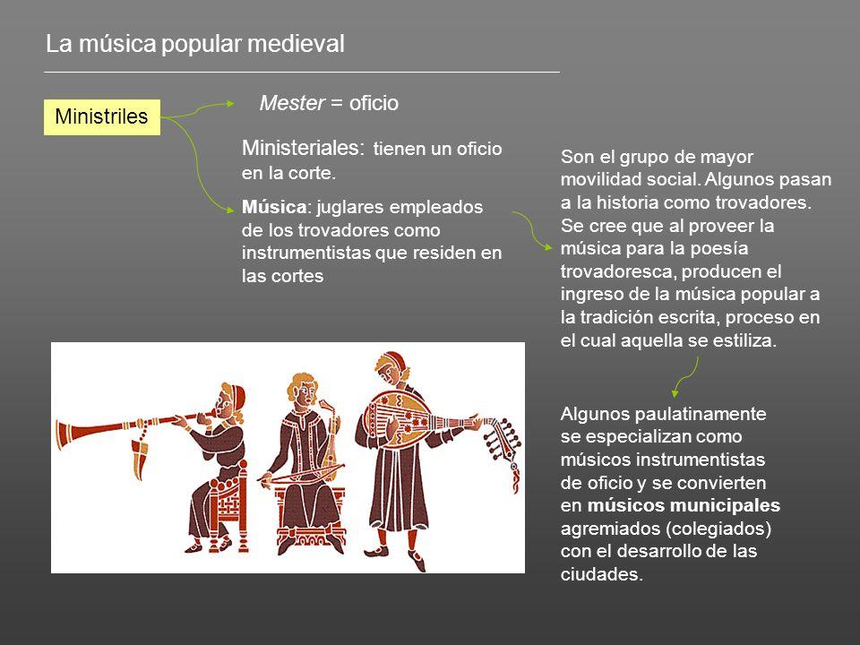 La música popular medieval Ministriles Mester = oficio Ministeriales: tienen un oficio en la corte. Música: juglares empleados de los trovadores como