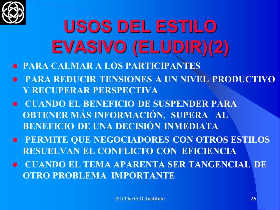 (C) The O.D. Institute25 USOS DEL ESTILO EVASIVO (ELUDIR)(1) IGNORA TANTO A LA OTRA PARTE COMO AL CONFLICTO EN SÍ MISMO. MINIMIZA LAS RELACIONES CON L