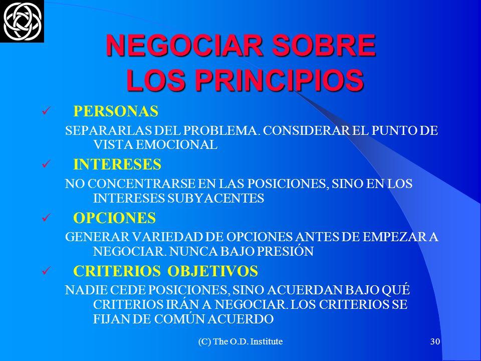 (C) The O.D. Institute29 NEGOCIAR SOBRE LOS PRINCIPIOS META-NEGOCIACIÓN LAS PARTES DISCUTEN PARA LLEGAR A UN ACUERDO ACERCA DE CÓMO SE IRÁ A NEGOCIAR