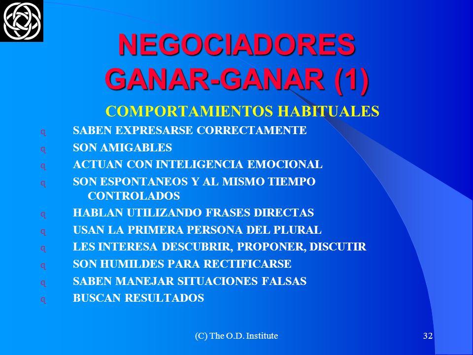 (C) The O.D. Institute31 DIFERENCIAS CON EL ENFOQUE TRADICIONAL TRADICIONAL SOBRE LOS NEGOCIADORES COLABORATIVOS LAS PARTESPERSONAS QUE ESTÁN SOLUCION
