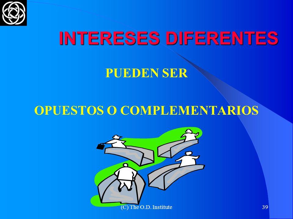 (C) The O.D. Institute38 LOS INTERESES COMUNES Y DIFERENTES DIFERENCIAS PUNTOS COMUNES ASPIRACIONES MUTUAS VENDEDORVENDEDOR COMPRADORCOMPRADOR