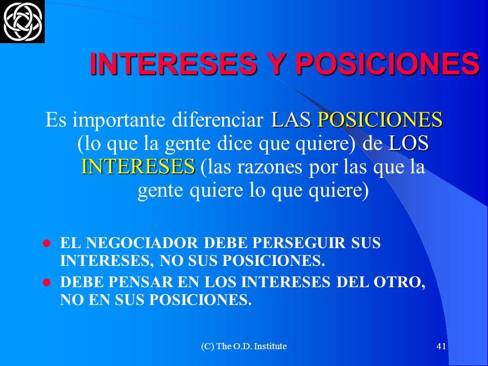 (C) The O.D. Institute40 INTERESES Y POSICIONES INTERESES: QUÉ PRETENDO POSICIONES: CÓMO LOGRARLO INFLEXIBLE EN LOS INTERESES FLEXIBLE EN LAS POSTURAS