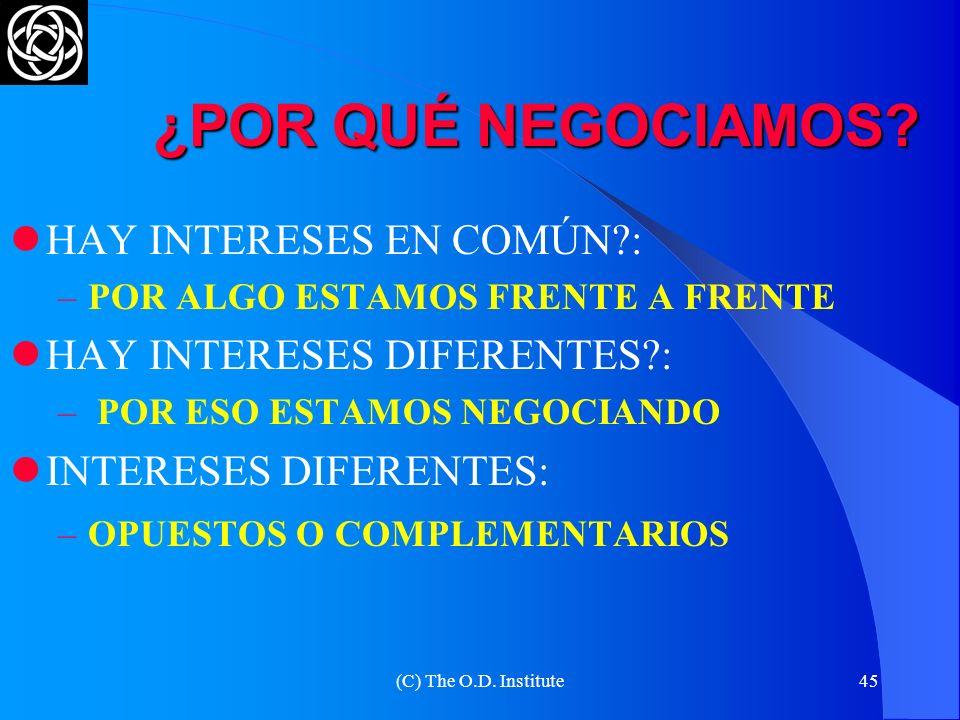 (C) The O.D. Institute44 DOS TIPOS DE INTERESES LOS EXPLÍCITOS LOS SUBYACENTES – OCULTOS Es necesario conocerlos para poder comprenderlos