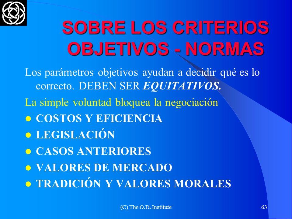 (C) The O.D. Institute62 PREGUNTAS PARA GENERAR OPCIONES ¿Qué le parece si...? ¿Bajo qué circunstancias Ud. podría acordar que...? ¿Cómo resolvería Ud