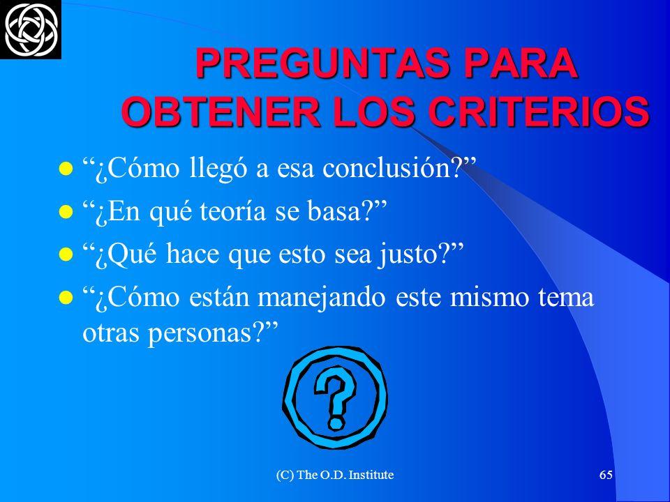 (C) The O.D. Institute64 BUSCANDO EL ESTÁNDAR LOS CRITERIOS OBJETIVOS DEBEN SER ACEPTADOS POR LAS PARTES LAS DOS PARTES DEBEN SER RAZONABLES Y ESCUCHA