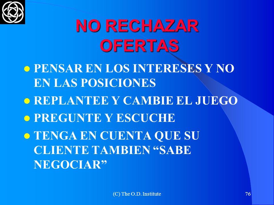 (C) The O.D. Institute75 NO ATACAR AL CLIENTE UN ATAQUE PRODUCE UNA REACCION CUALQUIER TENSIÓN PRODUCE RESISTENCIA AÚN CUANDO TENGA TODO EL PODER, ¡NE