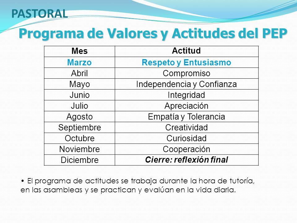 Programa de Valores y Actitudes del PEP MesActitud MarzoRespeto y Entusiasmo AbrilCompromiso MayoIndependencia y Confianza JunioIntegridad JulioApreci