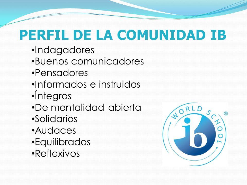 PERFIL DE LA COMUNIDAD IB Indagadores Buenos comunicadores Pensadores Informados e instruidos Íntegros De mentalidad abierta Solidarios Audaces Equilibrados Reflexivos