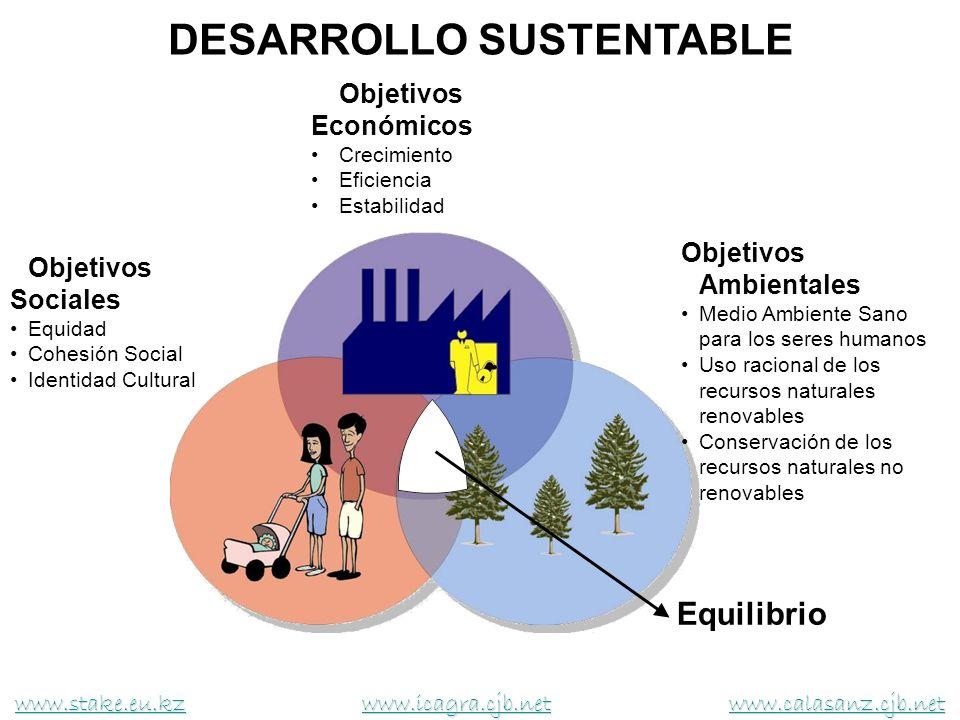 DESARROLLO SUSTENTABLE Objetivos Económicos Crecimiento Eficiencia Estabilidad Objetivos Sociales Equidad Cohesión Social Identidad Cultural Objetivos