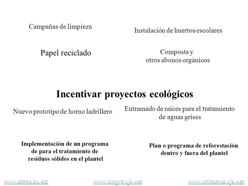Composta y otros abonos orgánicos Campañas de limpieza Instalación de huertos escolares Papel reciclado www.stake.eu.kzwww.stake.eu.kz www.icagra.cjb.