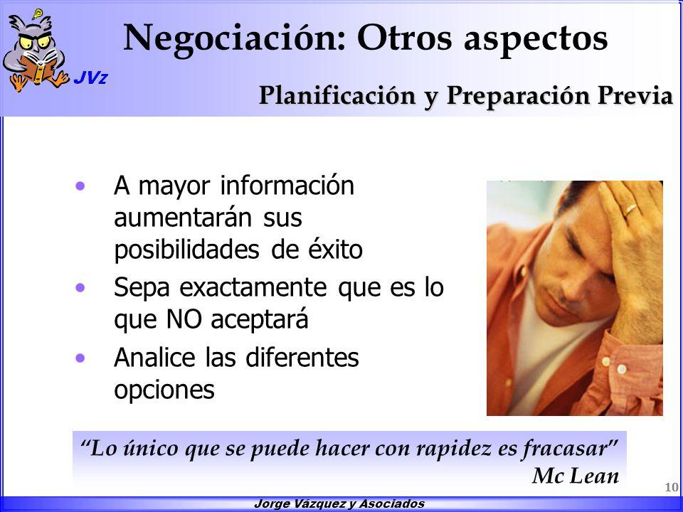 Jorge Vázquez y Asociados 10 Negociación: Otros aspectos A mayor información aumentarán sus posibilidades de éxito Sepa exactamente que es lo que NO a