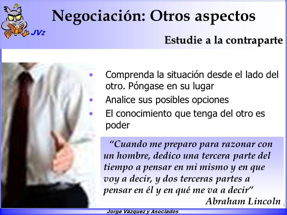 Jorge Vázquez y Asociados 11 Negociación: Otros aspectos Comprenda la situación desde el lado del otro. Póngase en su lugar Analice sus posibles opcio