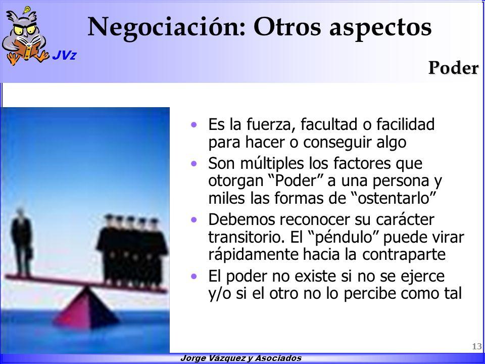 Jorge Vázquez y Asociados 13 Negociación: Otros aspectos Es la fuerza, facultad o facilidad para hacer o conseguir algo Son múltiples los factores que