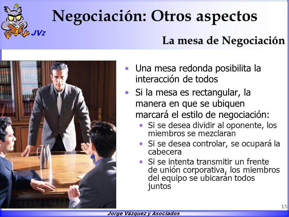 Jorge Vázquez y Asociados 15 Negociación: Otros aspectos Una mesa redonda posibilita la interacción de todos Si la mesa es rectangular, la manera en q