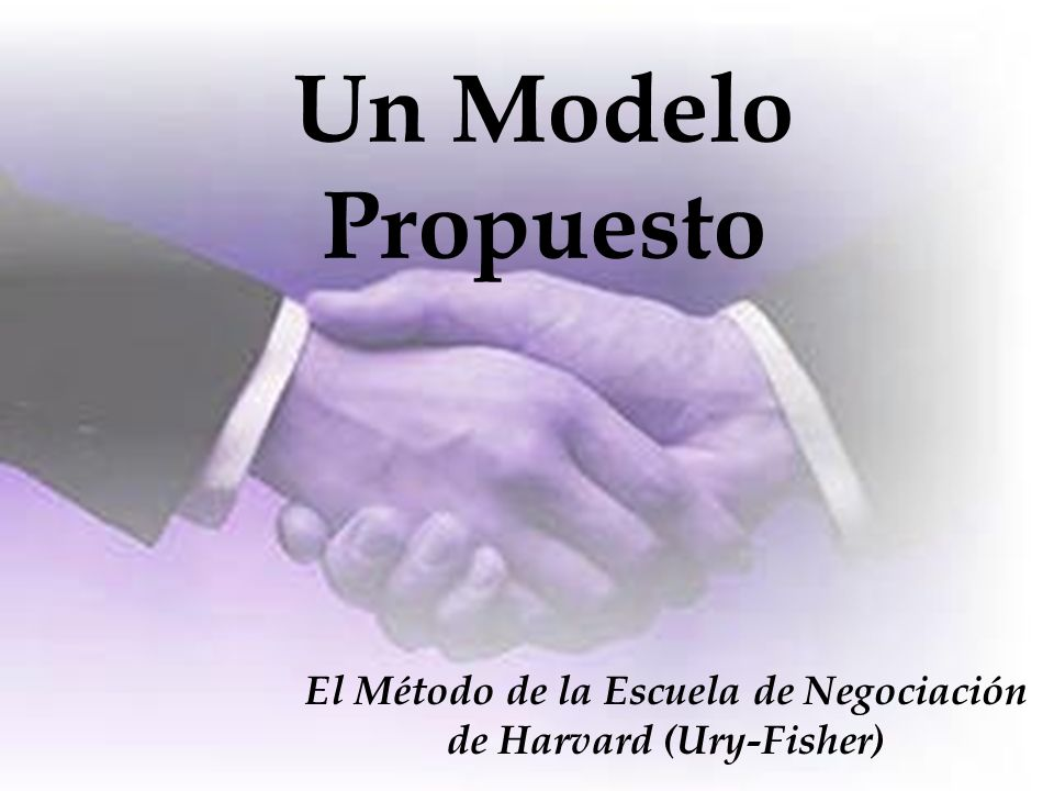 Un Modelo Propuesto El Método de la Escuela de Negociación de Harvard (Ury-Fisher)