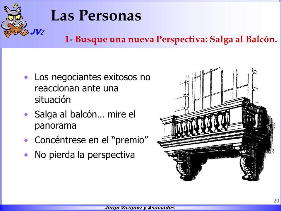 Jorge Vázquez y Asociados 20 Las Personas Los negociantes exitosos no reaccionan ante una situación Salga al balcón… mire el panorama Concéntrese en e
