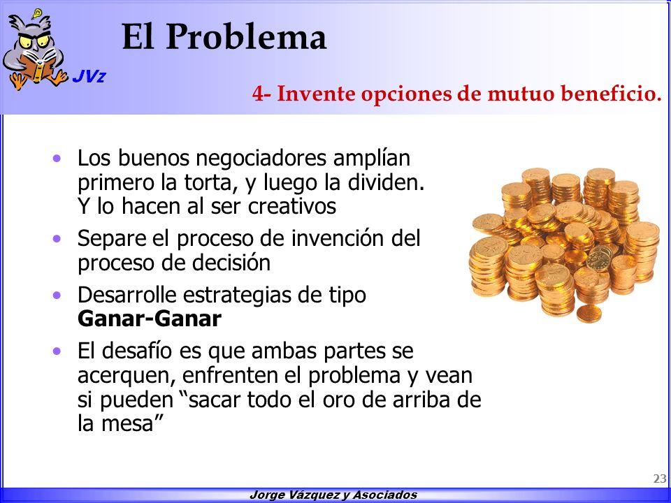 Jorge Vázquez y Asociados 23 El Problema Los buenos negociadores amplían primero la torta, y luego la dividen. Y lo hacen al ser creativos Separe el p