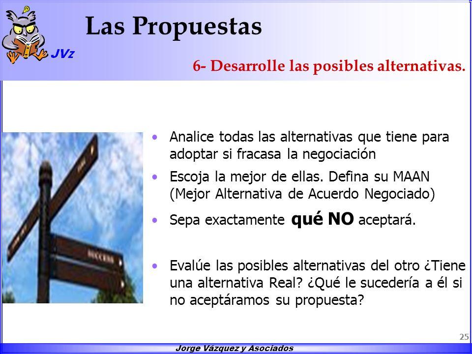 Jorge Vázquez y Asociados 25 Las Propuestas Analice todas las alternativas que tiene para adoptar si fracasa la negociación Escoja la mejor de ellas.