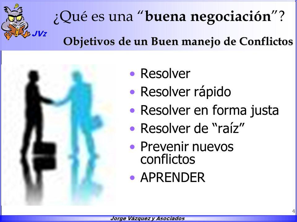 Jorge Vázquez y Asociados 4 ¿Qué es una buena negociación ? Resolver Resolver rápido Resolver en forma justa Resolver de raíz Prevenir nuevos conflict