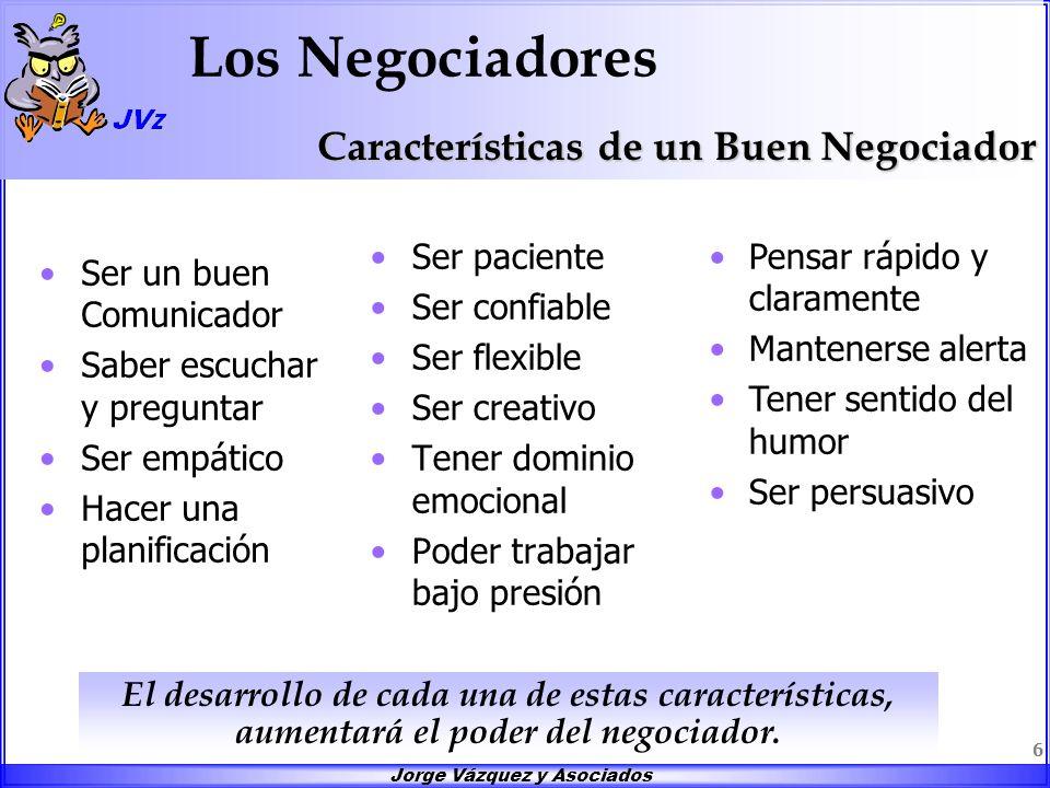Jorge Vázquez y Asociados 6 Los Negociadores Ser un buen Comunicador Saber escuchar y preguntar Ser empático Hacer una planificación Ser paciente Ser