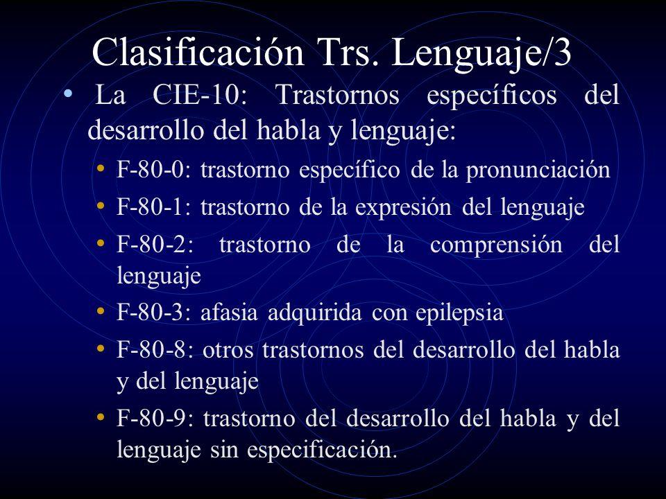 Clasificación Trs. Lenguaje/3 La CIE-10: Trastornos específicos del desarrollo del habla y lenguaje: F-80-0: trastorno específico de la pronunciación