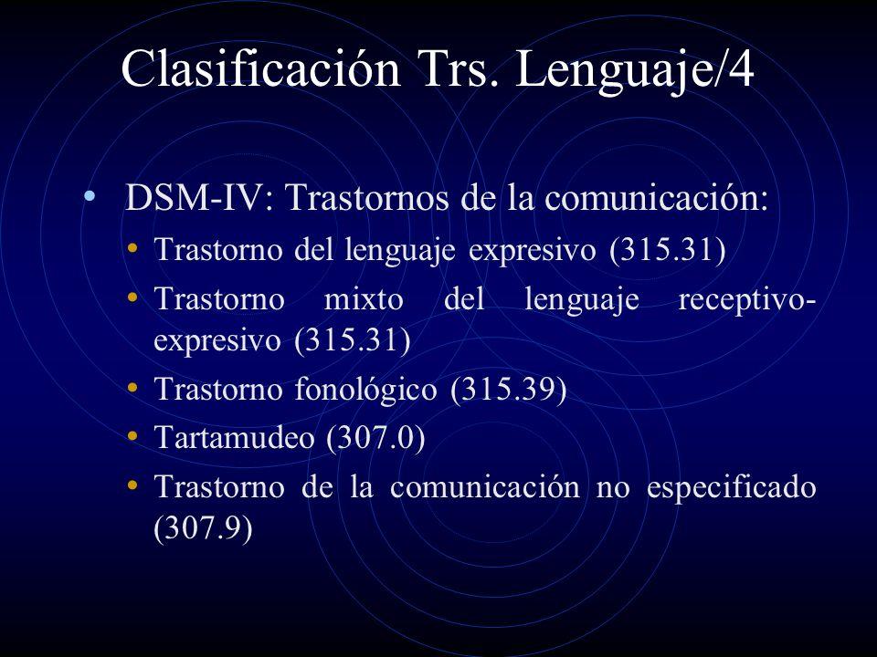Clasificación Trs. Lenguaje/4 DSM-IV: Trastornos de la comunicación: Trastorno del lenguaje expresivo (315.31) Trastorno mixto del lenguaje receptivo-