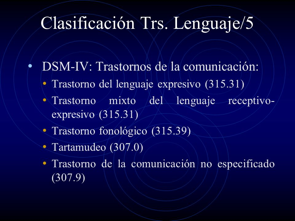 Clasificación Trs. Lenguaje/5 DSM-IV: Trastornos de la comunicación: Trastorno del lenguaje expresivo (315.31) Trastorno mixto del lenguaje receptivo-