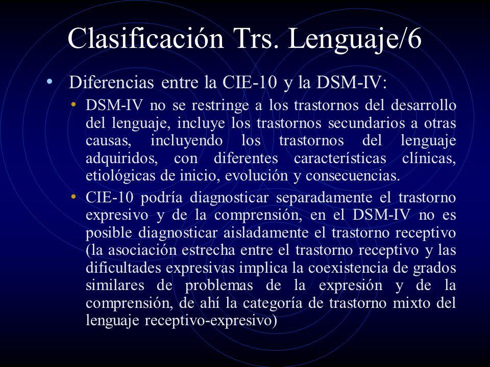 Clasificación Trs. Lenguaje/6 Diferencias entre la CIE-10 y la DSM-IV: DSM-IV no se restringe a los trastornos del desarrollo del lenguaje, incluye lo
