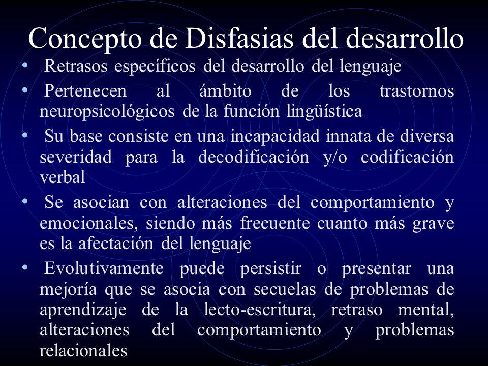 Concepto de Disfasias del desarrollo Retrasos específicos del desarrollo del lenguaje Pertenecen al ámbito de los trastornos neuropsicológicos de la f