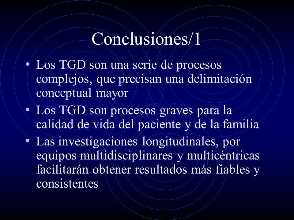 Conclusiones/1 Los TGD son una serie de procesos complejos, que precisan una delimitación conceptual mayor Los TGD son procesos graves para la calidad