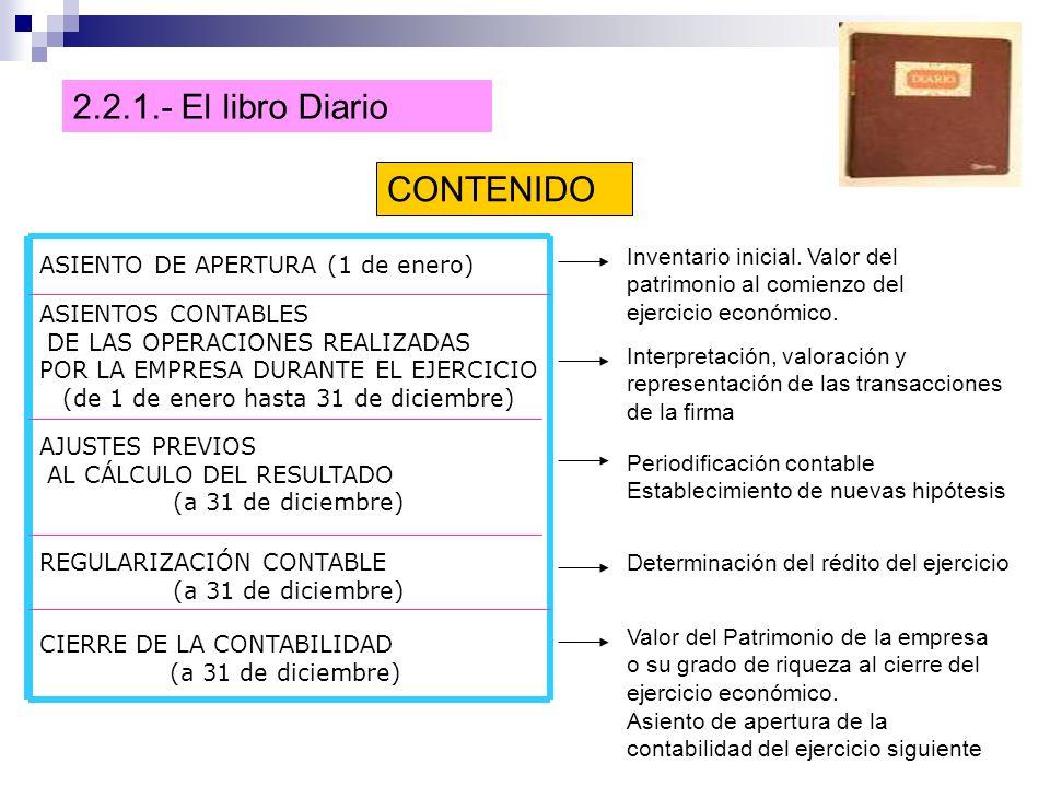 2.2.1.- El libro Diario CONTENIDO ASIENTO DE APERTURA (1 de enero) Inventario inicial.