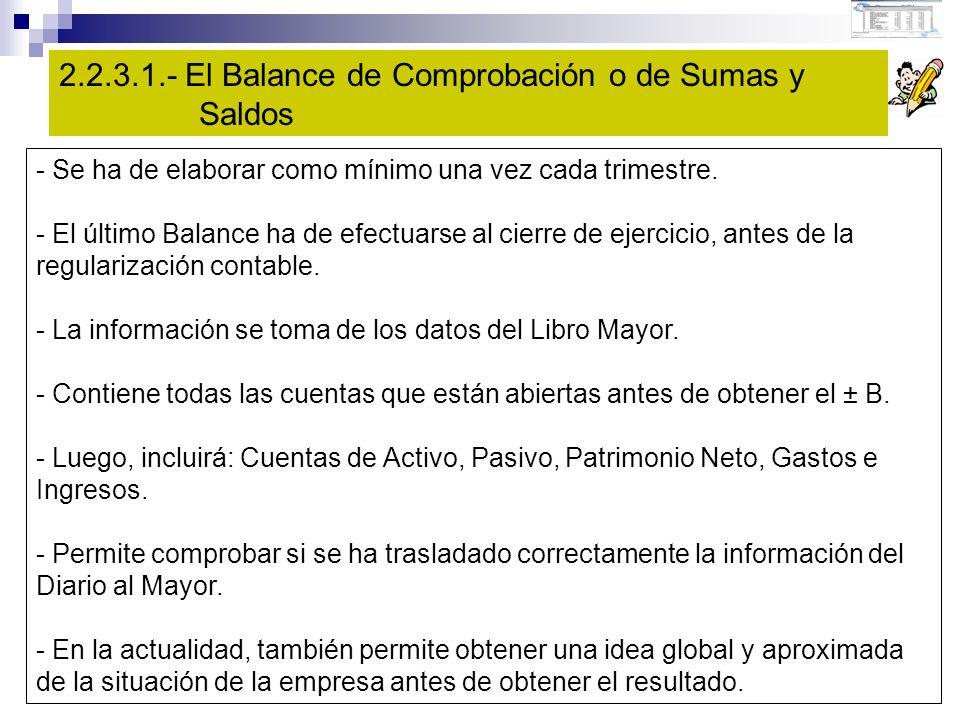 2.2.3.1.- El Balance de Comprobación o de Sumas y Saldos - Se ha de elaborar como mínimo una vez cada trimestre.