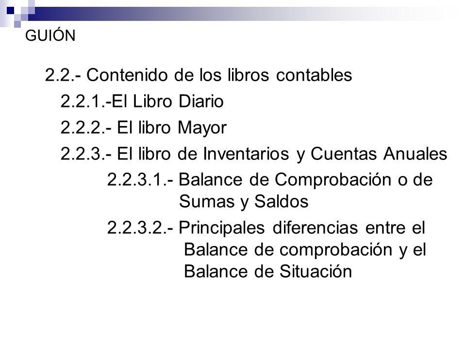 GUIÓN 2.2.- Contenido de los libros contables 2.2.1.-El Libro Diario 2.2.2.- El libro Mayor 2.2.3.- El libro de Inventarios y Cuentas Anuales 2.2.3.1.- Balance de Comprobación o de Sumas y Saldos 2.2.3.2.- Principales diferencias entre el Balance de comprobación y el Balance de Situación