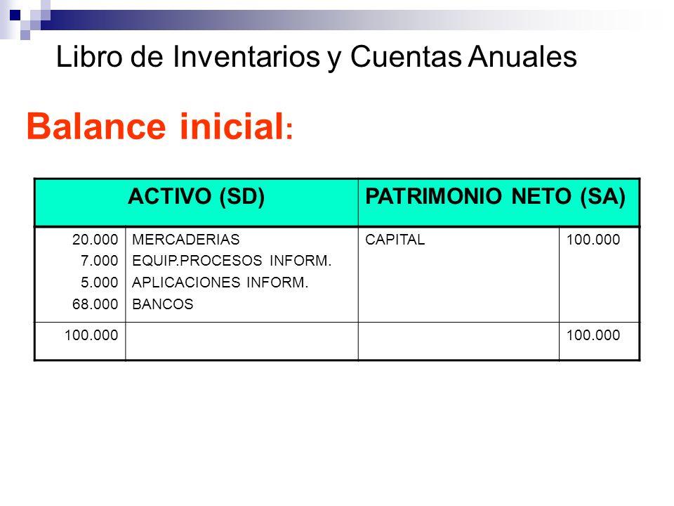 Libro de Inventarios y Cuentas Anuales Balance inicial : ACTIVO (SD)PATRIMONIO NETO (SA) 20.000 7.000 5.000 68.000 MERCADERIAS EQUIP.PROCESOS INFORM.