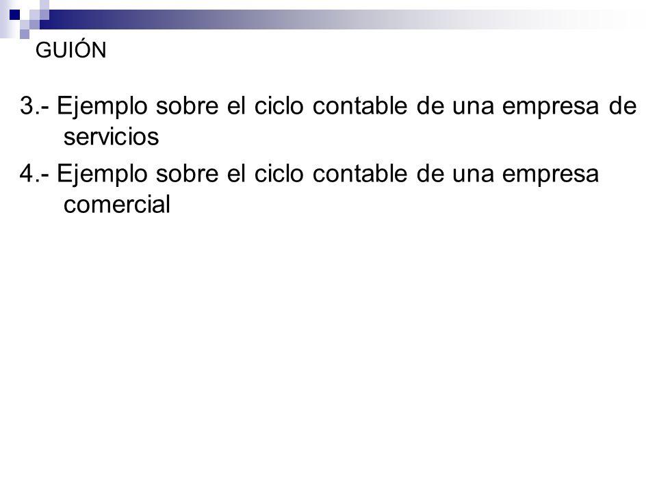 GUIÓN 3.- Ejemplo sobre el ciclo contable de una empresa de servicios 4.- Ejemplo sobre el ciclo contable de una empresa comercial