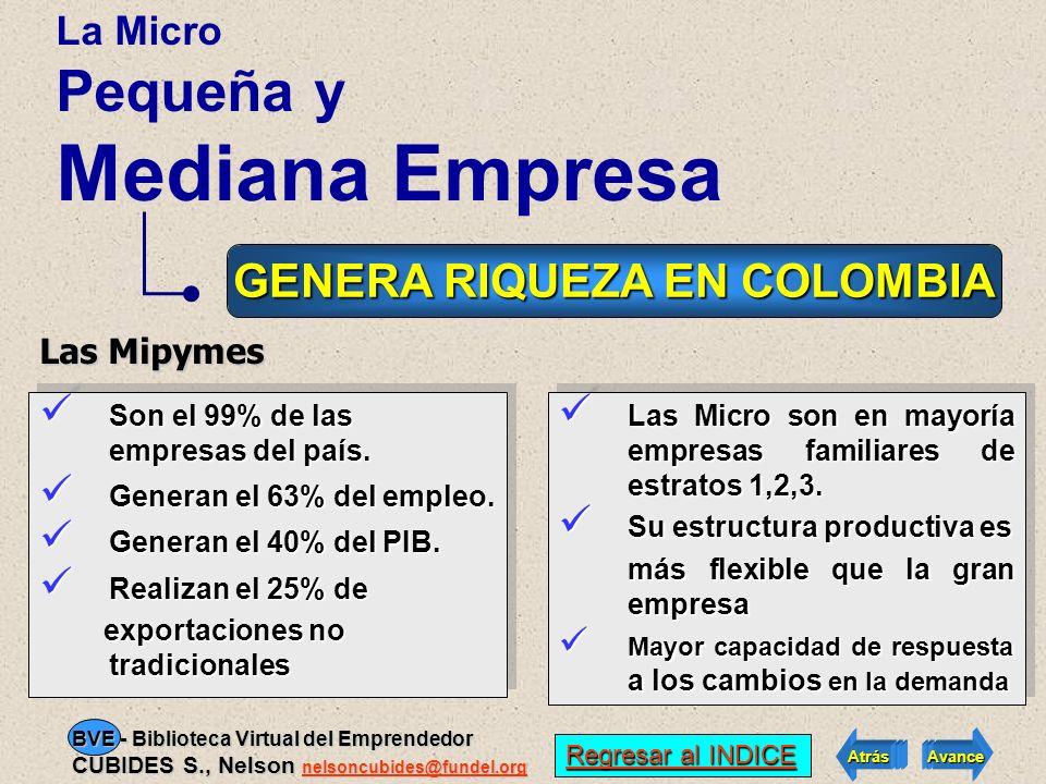 PARTICIPACION DE LA EMPRESA COLOMBIANA SEGUN SU TAMAÑO Regresar al INDICE Regresar al INDICE Atrás Avance BVE - Biblioteca Virtual del Emprendedor CUB