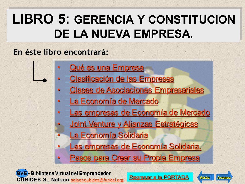VER INDICE LIBRO 5 VER INDICE LIBRO 5 Atrás Avance BVE - Biblioteca Virtual del Emprendedor CUBIDES S., Nelson nelsoncubides@fundel.org nelsoncubides@