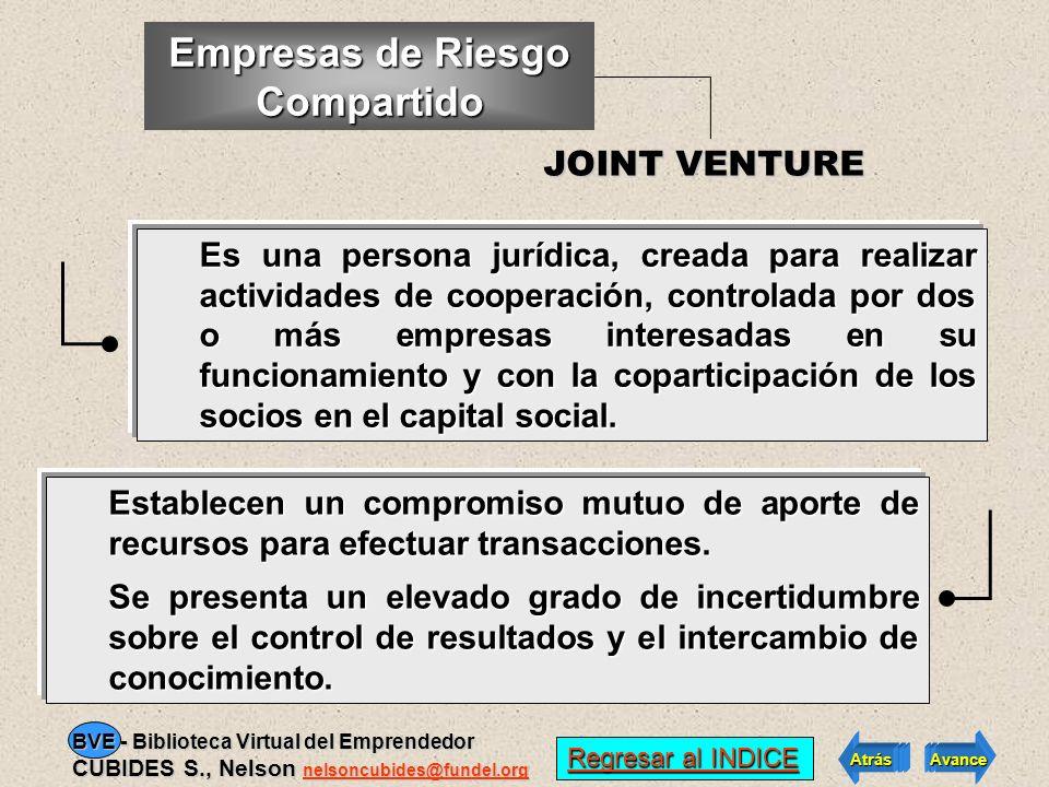 EMPRESAS DE RIESGO COMPARTIDO: JOINT VENTURE EMPRESAS DE RIESGO COMPARTIDO: JOINT VENTURE de empresa Un tipo menos común Regresar al INDICE Regresar a