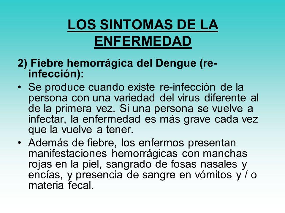 LOS SINTOMAS DE LA ENFERMEDAD 2) Fiebre hemorrágica del Dengue (re- infección): Se produce cuando existe re-infección de la persona con una variedad del virus diferente al de la primera vez.