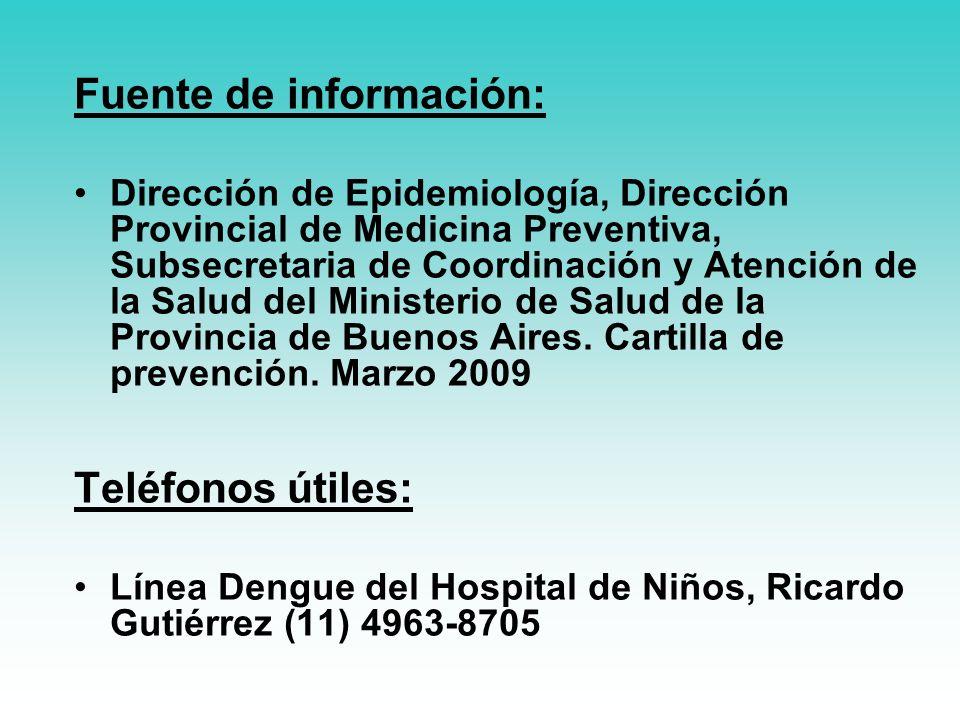 Fuente de información: Dirección de Epidemiología, Dirección Provincial de Medicina Preventiva, Subsecretaria de Coordinación y Atención de la Salud del Ministerio de Salud de la Provincia de Buenos Aires.