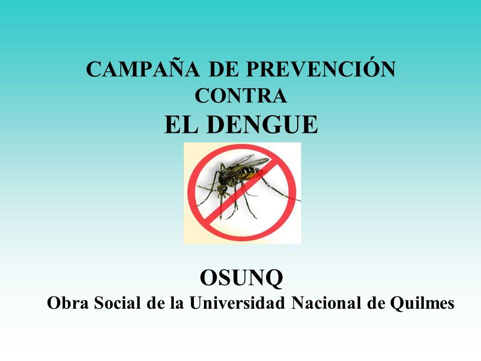 CAMPAÑA DE PREVENCIÓN CONTRA EL DENGUE OSUNQ Obra Social de la Universidad Nacional de Quilmes