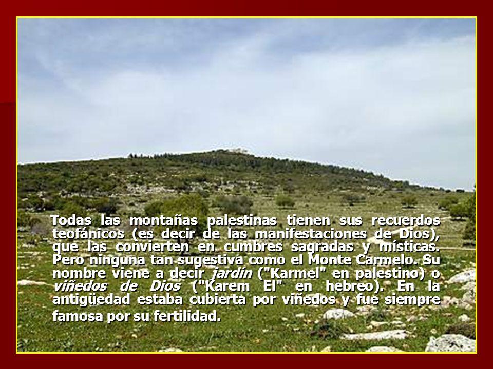 Todas las montañas palestinas tienen sus recuerdos teofánicos (es decir de las manifestaciones de Dios), que las convierten en cumbres sagradas y míst